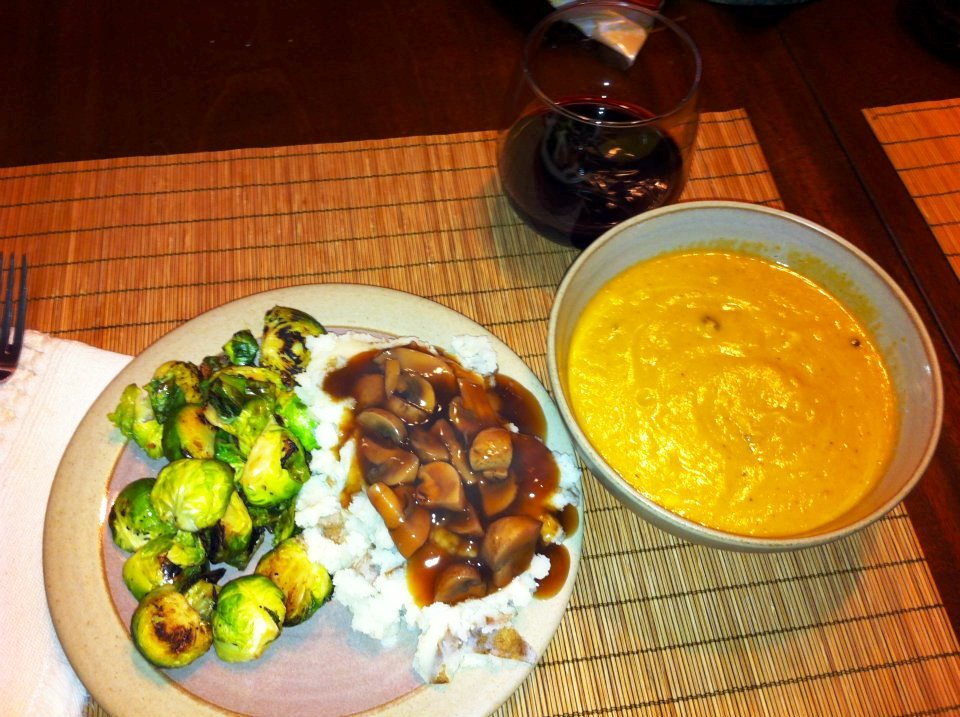 Sauteed Brussels sprouts, mashed potatoes with tangy, tasty mushroom ...