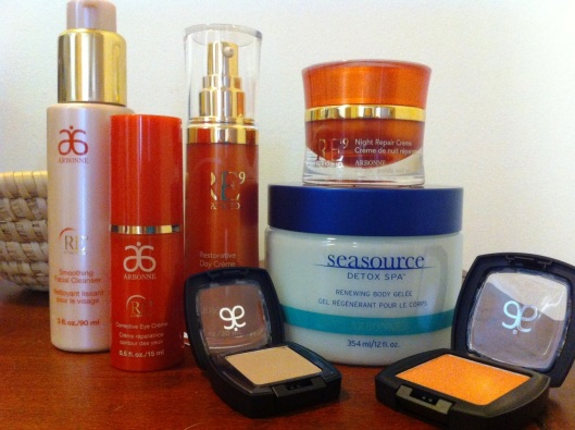 All the Arbonne goodies I got from my spa night!