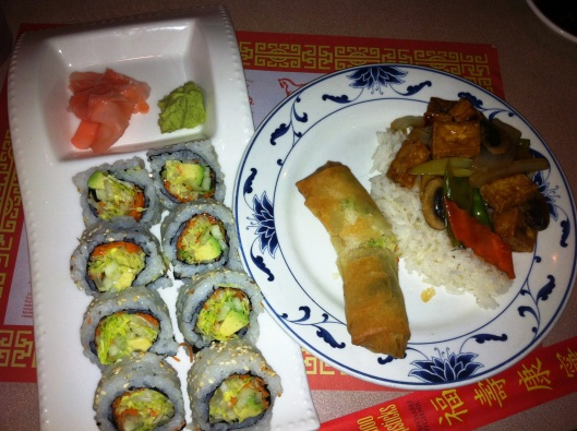 Veggie roll, tofu with mixed veggies, and a vegetarian spring roll...think we were hungry?