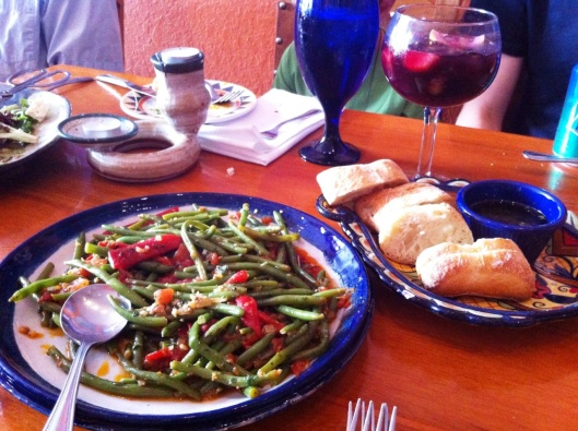 The green beans, Mediterranean salad (not pictured), and more than my fair share of bread dipped in olive oil and garlic. :)