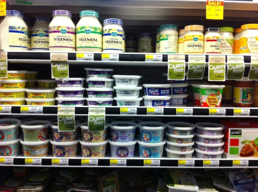 Here you can see the different vegan cream cheeses and sour creams.