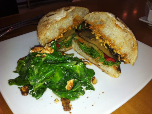 Smoked Portobello Sandwich with arugula • vegan mozzarella • grilled vegetables • tomato aioli • Annie's ciabatta…with sautéed chard and candied walnuts
