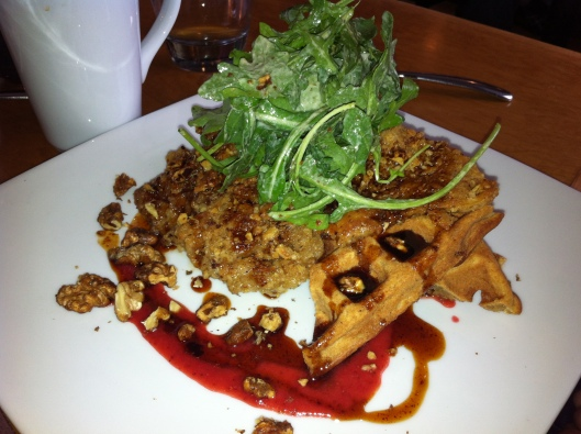 Seitan and Waffles with caramelized onions · ancho chili-maple redux · watercress & creamy Caesar · candied walnuts