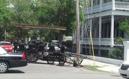 Horse carriage accident scene in Charleston, July 2012