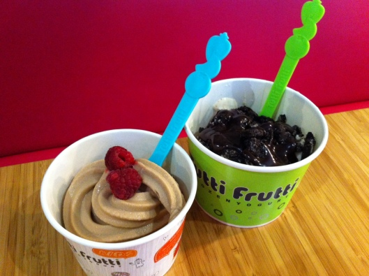 Tutti Frutti frozen yogurt shop carries non-GMO soy frozen yogurt! I get Oreos, dark chocolate, or fruit as toppings.