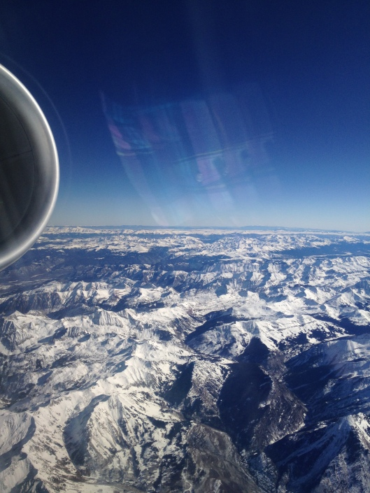 view of Rockies from plane